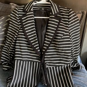 AGB black and white striped blazer jacket